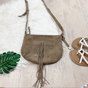 Lucky Brand Tan Suede Fringe Boho Crossbody Bag